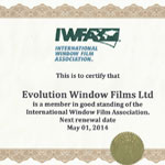 Solar Control Film Specialist Internation Window Film Association Certification 2014
