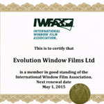 Evolution Window Films IWFA Certification 2015